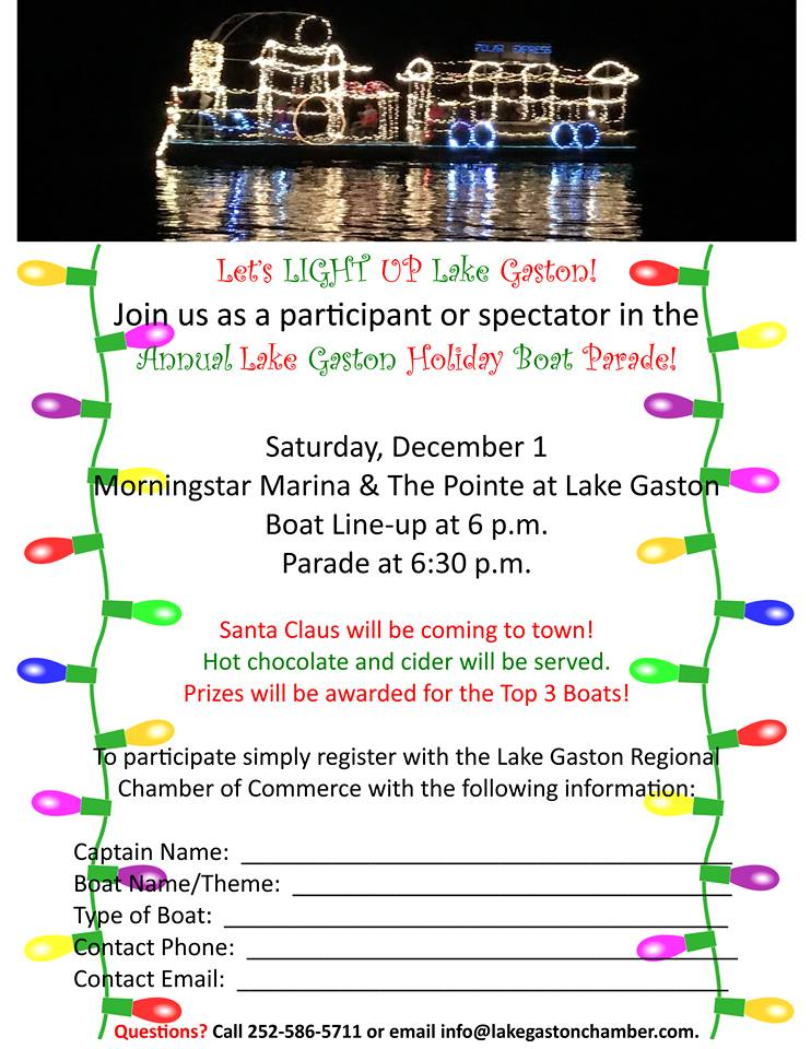 Register with the Lake Gaston Chamber to take part in the 2018 Holiday Flotilla